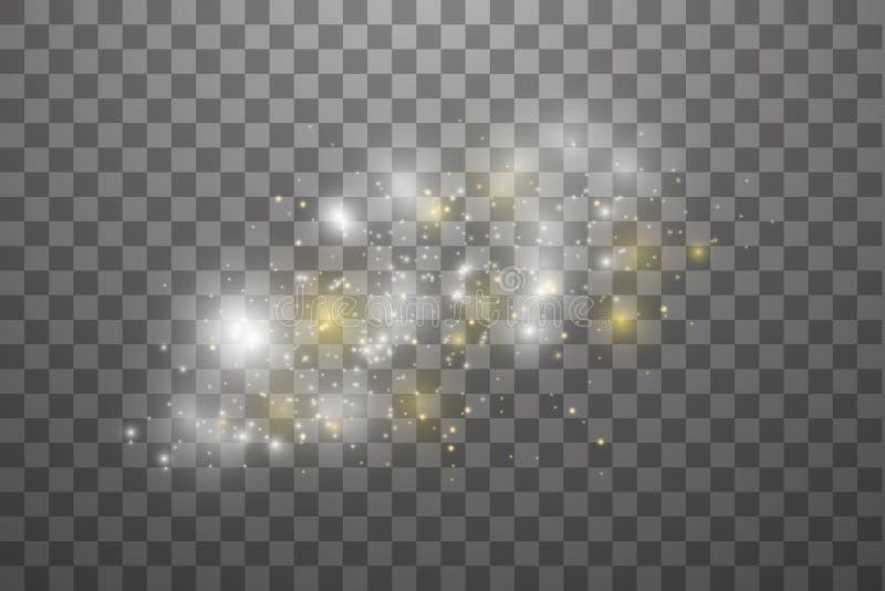 Белые и золотые искры и световой эффект яркого блеска звезд особенный Вектор сверкнает на прозрачной предпосылке Рождество иллюстрация штока