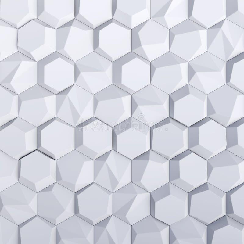 Белый абстрактный фон шестиугольников иллюстрация вектора