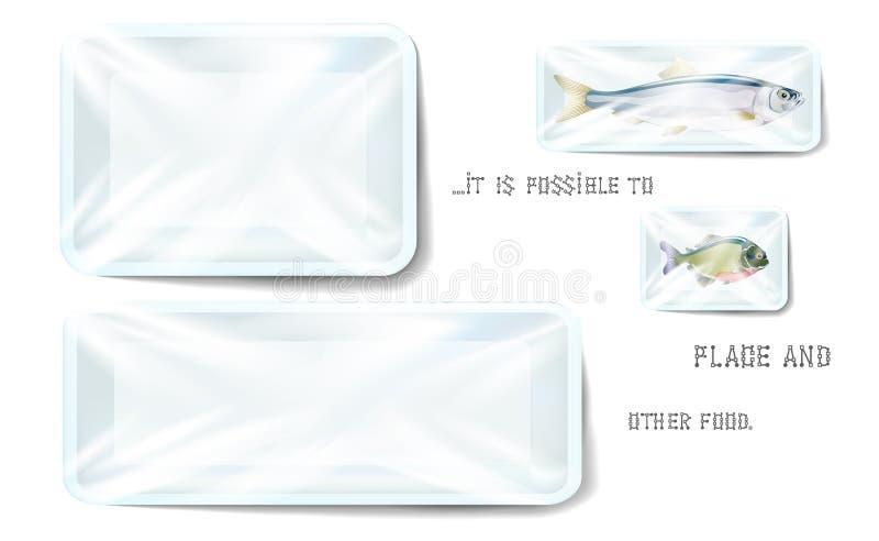 Белый пластиковый пищевой контейнер в оболочке полиэтиленом Насмешка подноса стиропора пробела прямоугольника вектора вверх, шабл иллюстрация штока