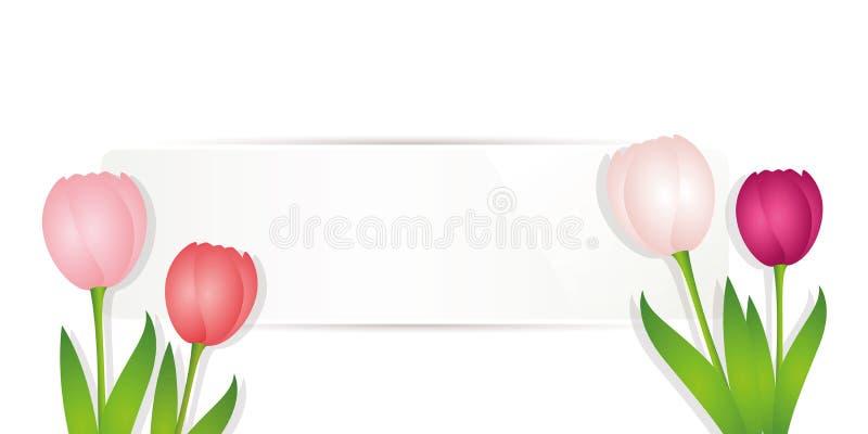 Белый пустой ярлык с красочными тюльпанами скачет дизайн бесплатная иллюстрация