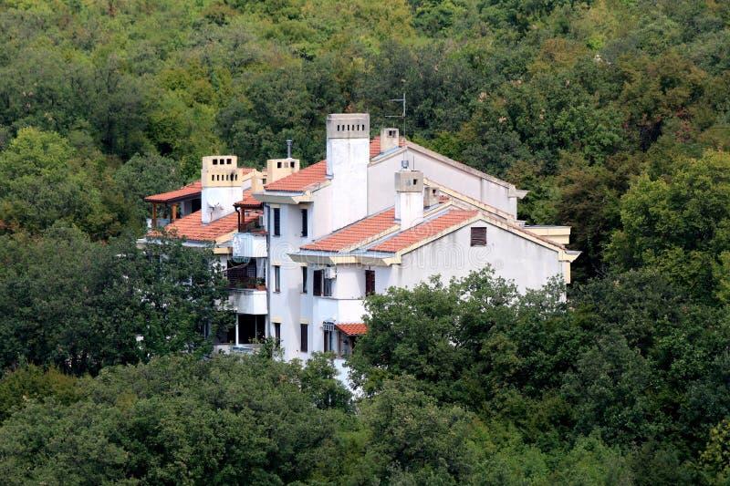 Белый прикрепленный жилой дом на совершенно окруженной стороне небольшого холма с плотным лесом и другой растительностью стоковое изображение rf