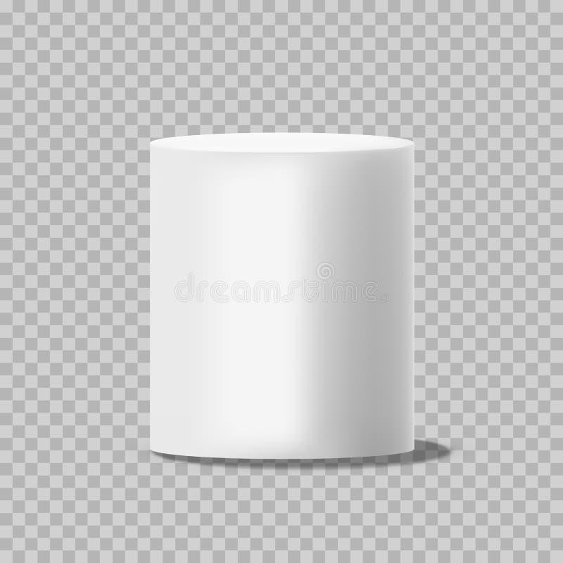 Белый цилиндр Твердый круговой штендер коробки или стоит пустой вектор модель-макета консервной банки изолированный на прозрачной иллюстрация вектора