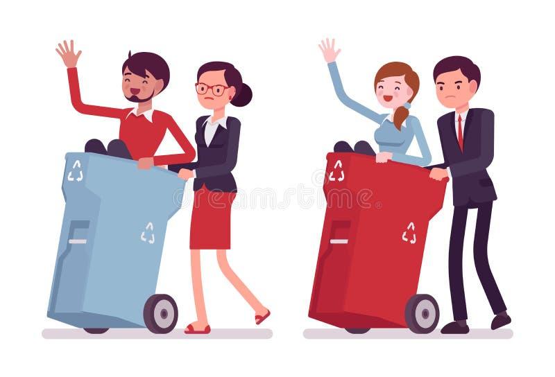 Бесполезные люди в мусорных ведрах иллюстрация вектора