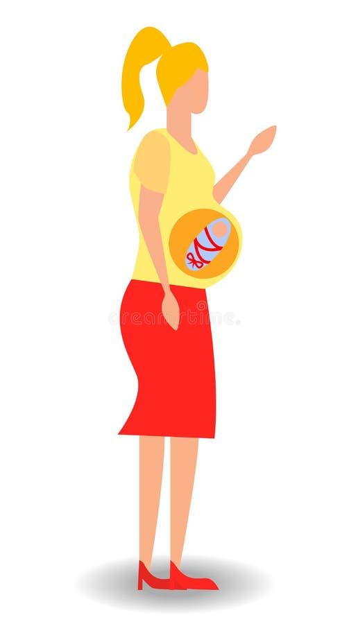 Беременная женщина мечтая ее младенца Женщина мечтает ребенка иллюстрация вектора