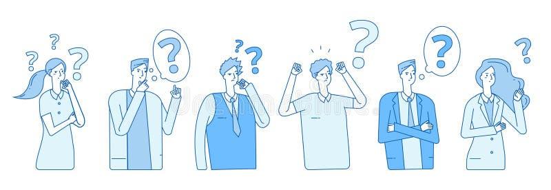 Бизнесмены ища решение Эмоциональный стресс паники проблемы истеричности людей Люди думают с вектором вопросительных знаков иллюстрация вектора