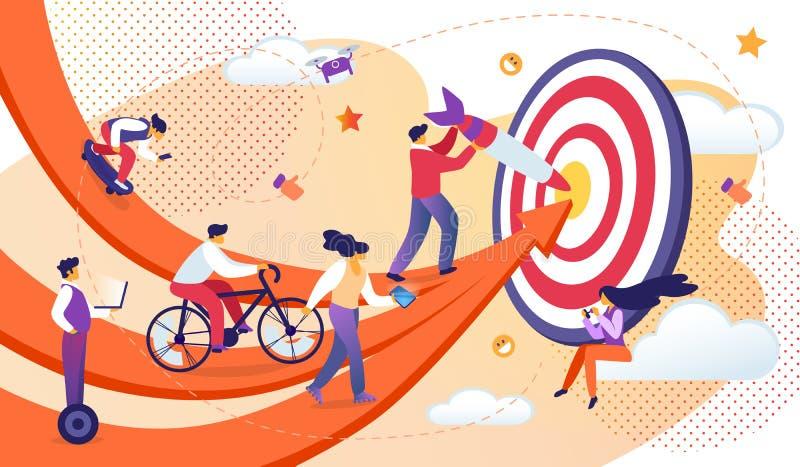 Бизнесмены двигая стрелками к общей цели бесплатная иллюстрация