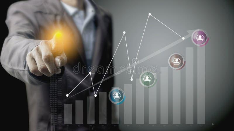 Бизнесмены с infographic символами иллюстрация вектора