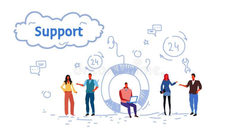 Бизнесмены собирают мультфильм процесса технического обслуживания клиента концепции центра наличия команды онлайн работая мужской иллюстрация штока