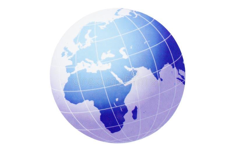 Бизнесмен используя компьтер-книжку с концом вверх на глобусе мира иллюстрация вектора