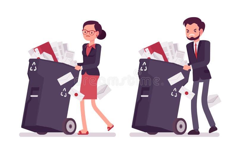 Бизнесмен и коммерсантка нажимая, который катят мусорные ведра с документами иллюстрация штока