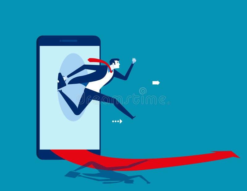 Бизнесмен скача из умного телефона Дело концепции начиная онлайн иллюстрацию вектора иллюстрация вектора