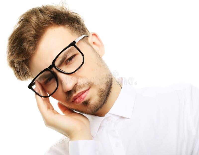 Бизнесмен усилил беспокойство головной боли давления стоковая фотография