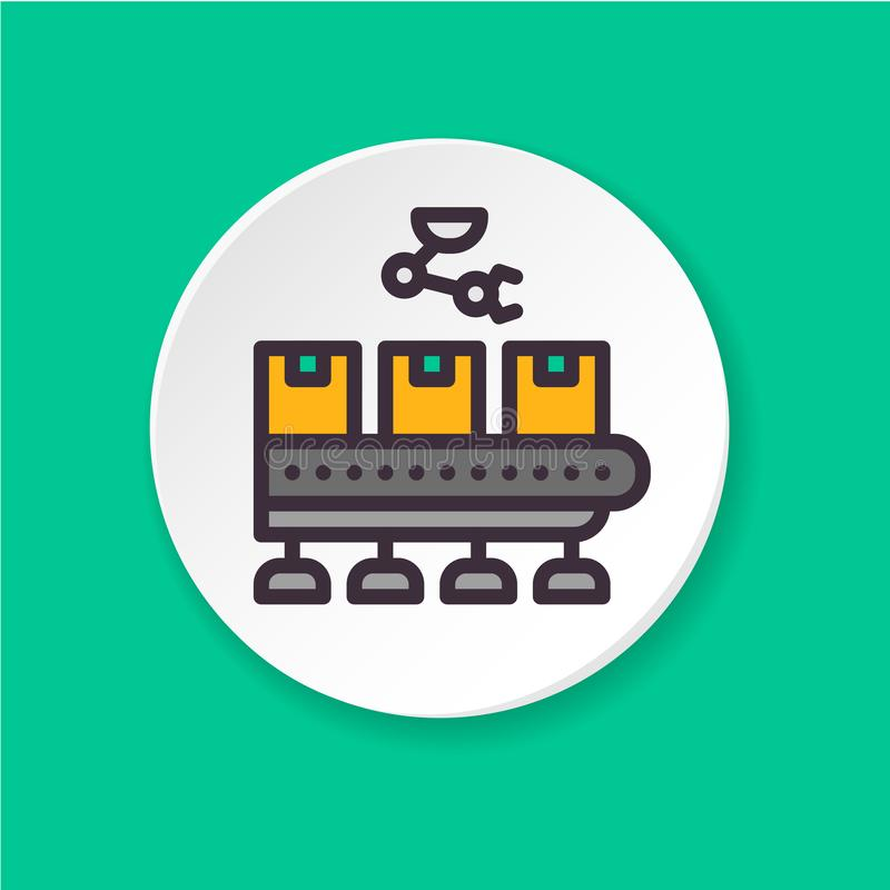 Flat icon conveyor with products. Button for web or mobile app. UI/UX user interface. Vector flat icon conveyor with products. The concept of artificial stock illustration