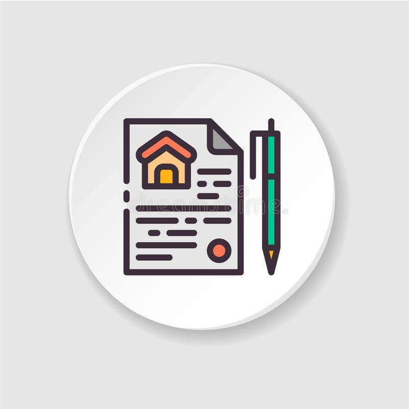 Flat icon home purchase contract. Button for web or mobile app. royalty free illustration