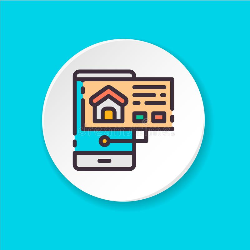Flat icon home search icon in the phone. Concept of booking, rental housing. royalty free illustration