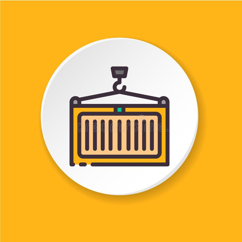Flat icon cargo crane. Concept container. royalty free illustration
