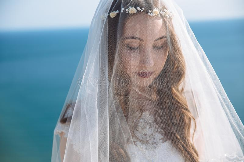 Близкий поднимающий вверх портрет невесты с красивыми макияжем, стилем причесок и вуалью на ее стороне с предпосылкой океана стоковые изображения