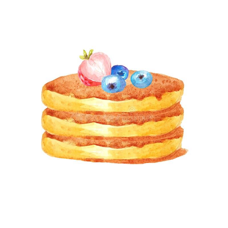 Блинчики акварели точно столбец с 3 голубиками и strawberrie на белой предпосылке иллюстрация штока