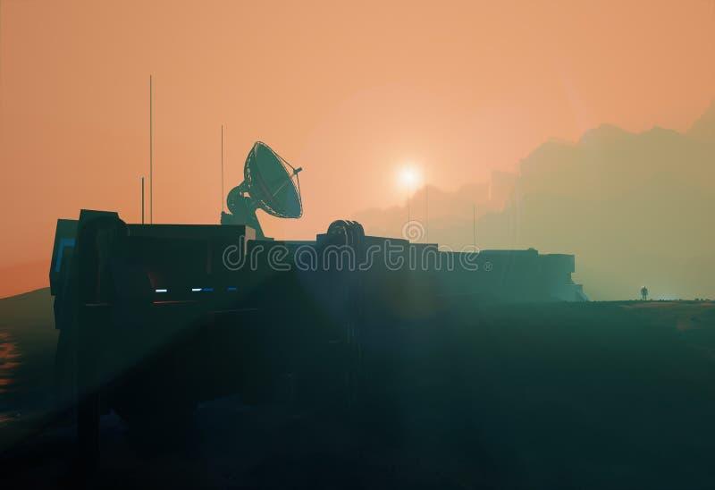 Блюдо радиолокатора космоса низкопробное в заходе солнца Марса туманном бесплатная иллюстрация
