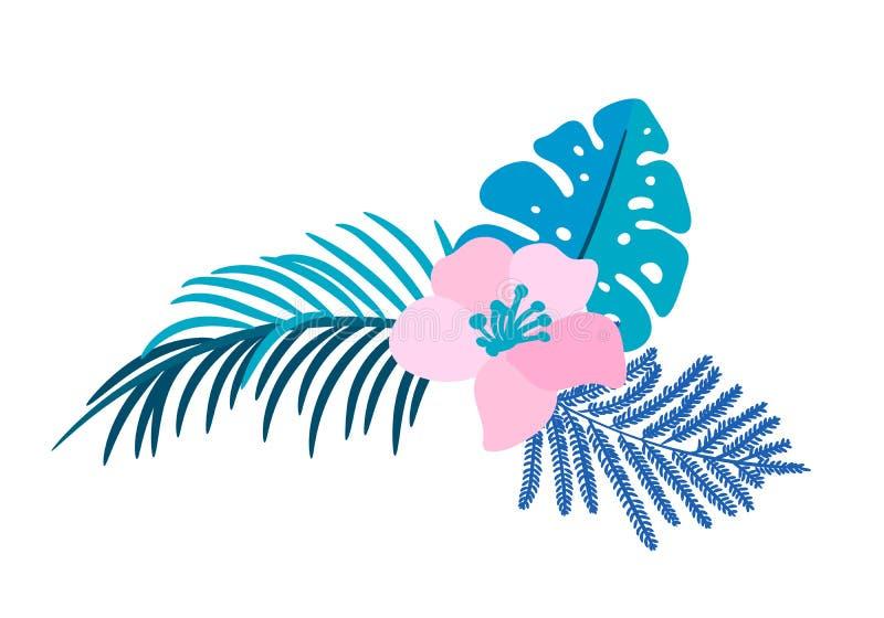 Букета цветка вектора изолированное летом monstera ладони плоского тропическое на изолированной белой предпосылке Скандинавская н иллюстрация штока