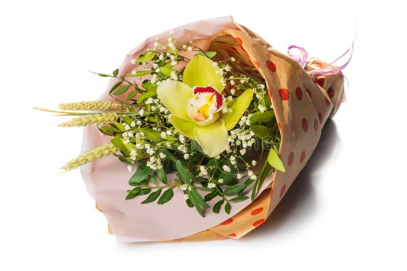 Букет с орхидеей и травостоем стоковые изображения rf