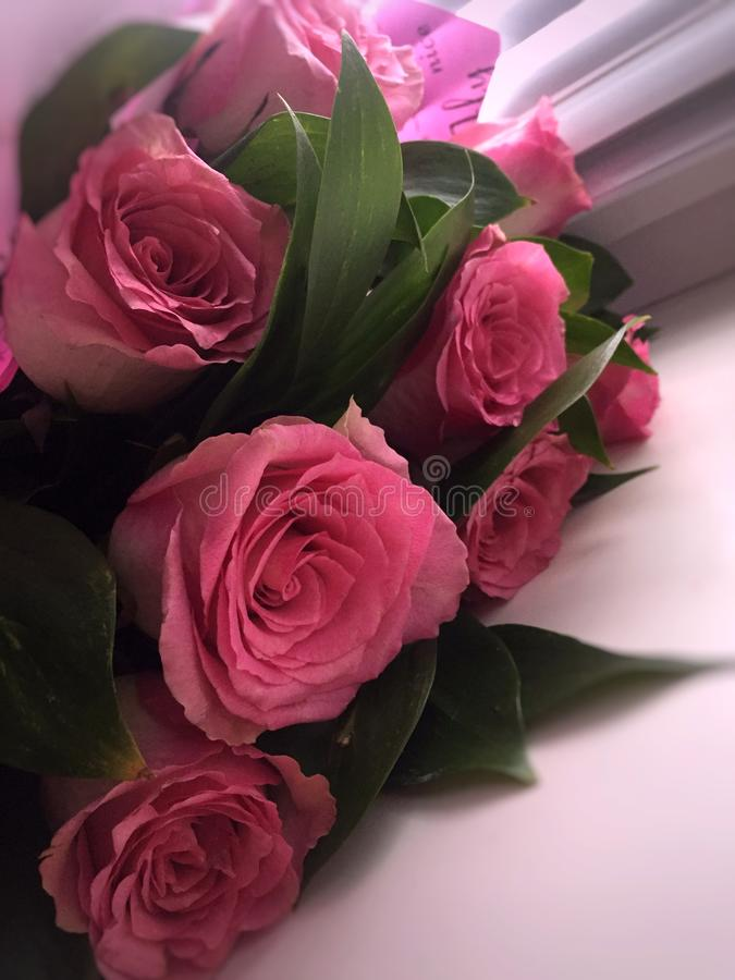 Букет розовых роз на windowsill стоковое фото
