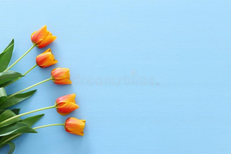 букет оранжевых и желтых тюльпанов над пастельной голубой деревянной предпосылкой Взгляд сверху стоковое фото