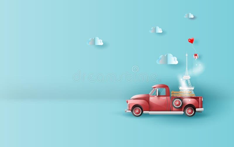 Бумажное искусство иллюстрации перемещения в празднике с красным классическим автомобилем грузового пикапа, Эйфелевой башней нося бесплатная иллюстрация