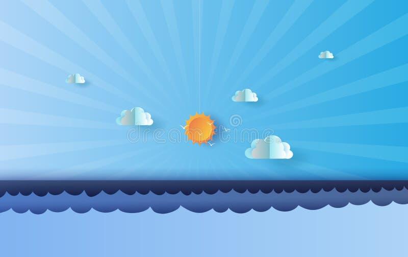 Бумажное искусство ландшафта моря и неба лета иллюстрации голубого, солнечного света красивого, пастельного сладкого цвета пейзаж иллюстрация вектора