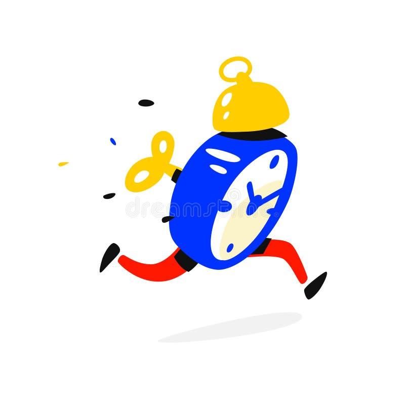 Будильник персонажа из мультфильма идущий также вектор иллюстрации притяжки corel время вверх Часы бегут Изображение изолировано  иллюстрация штока