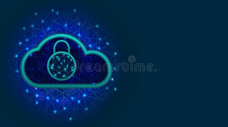 Будущая технология безопасности кибер Данные по облака или предохранение от сети с символом padlock на абстрактной голубой предпо иллюстрация вектора