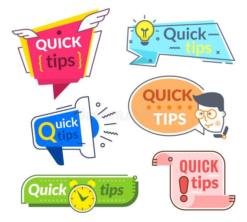 Быстрые ярлыки подсказки Подсказки и предложение фокусов, быстро совет помощи Полезные знамена вектора обслуживания иллюстрация штока