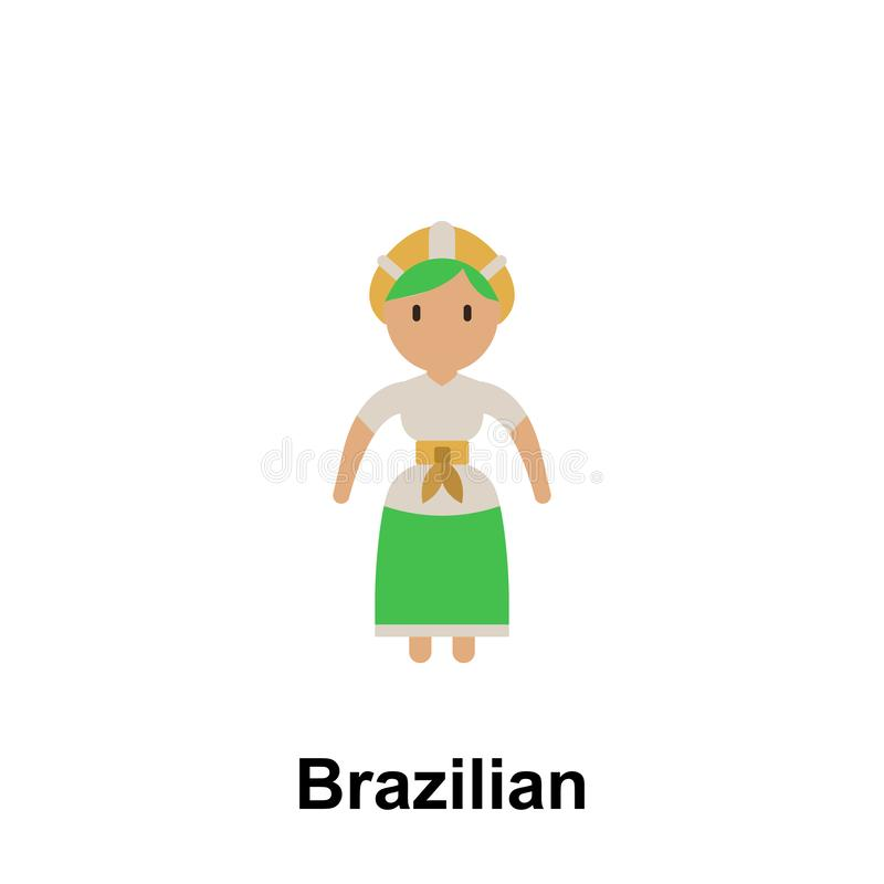 Бразильский, значок мультфильма женщины Элемент людей значка цвета Наградной качественный значок графического дизайна знаки и бесплатная иллюстрация