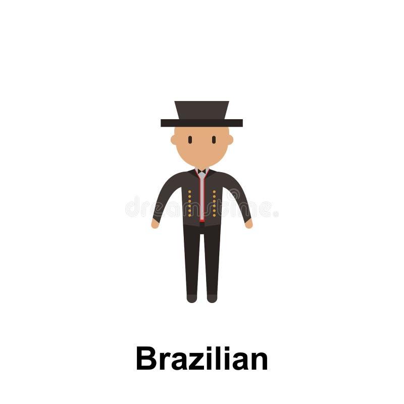 Бразильский, значок мультфильма человека Элемент людей значка цвета Наградной качественный значок графического дизайна подписывае иллюстрация штока