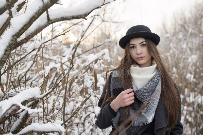 Брюнет женский в пейзаже зимы, с шарфом и шляпой дальше Деревья и вянуть высокая крышка травы снегом стоковое изображение