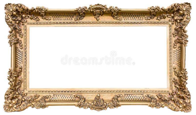 Богато украшенная золотая деревянная рамка как изолированный оригинал стоковое фото rf