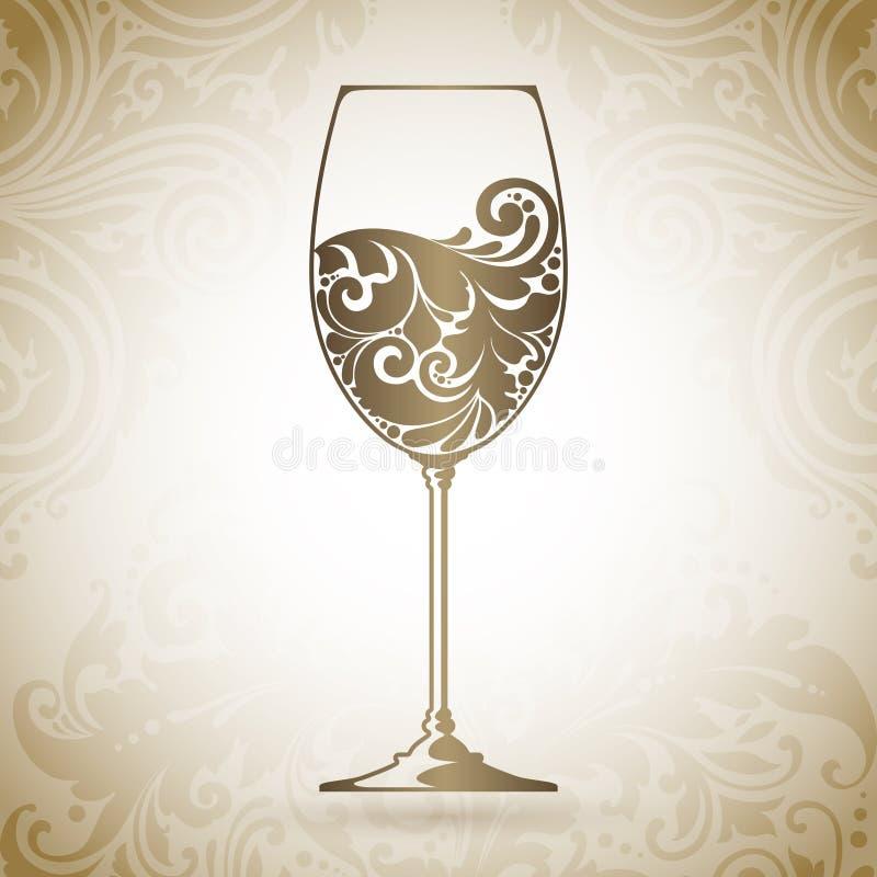 Богато украшенный бокал вина Vector элемент для винной карты, шаблона дизайна меню Декоративный значок на предпосылке с картиной иллюстрация штока