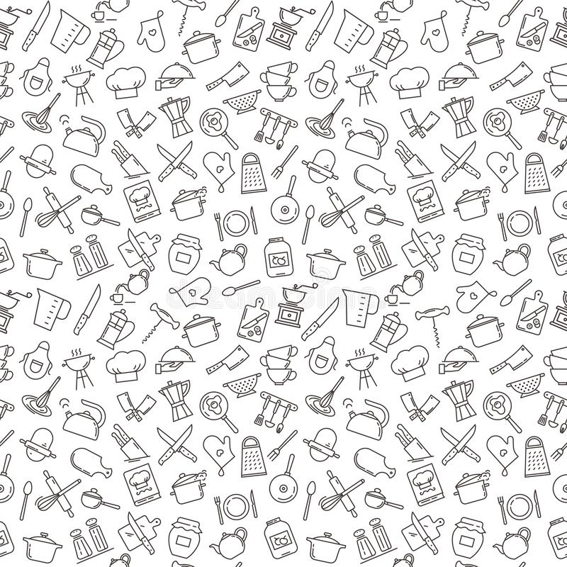 Большая безшовная картина на теме кухни с различными элементами кухни иллюстрация вектора