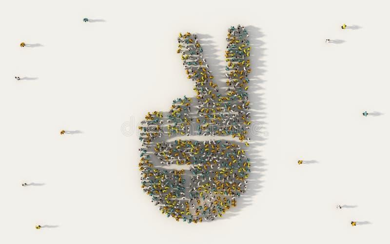 Большая группа людей формируя 2 пальца вверх по значку в социальных средствах массовой информации и концепции общины на белой пре иллюстрация вектора