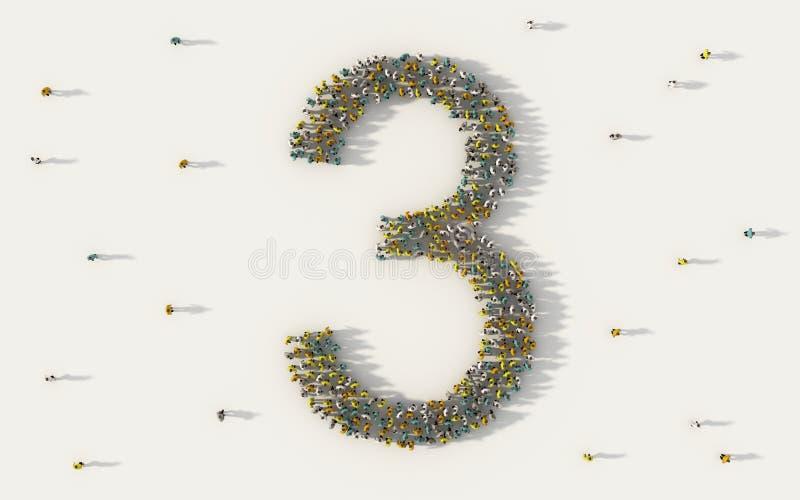 Большая группа людей формируя 3, 3, характер текста алфавита в социальных средствах массовой информации и концепция общины на бел иллюстрация вектора