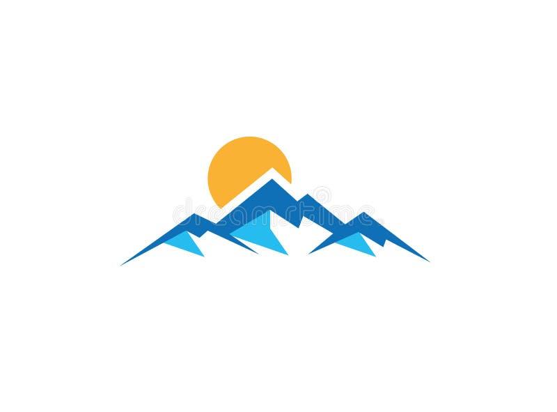 Большие голубые горы с солнцем вверх по и логотипом снега льда бесплатная иллюстрация
