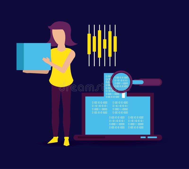 Большие данные и сотрудник иллюстрация штока