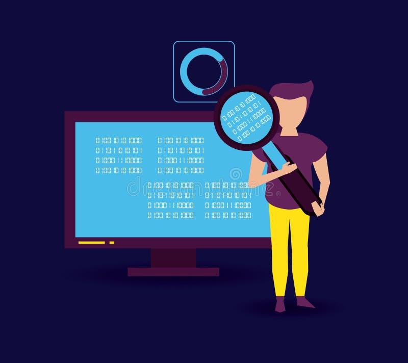 Большие данные и сотрудник иллюстрация вектора
