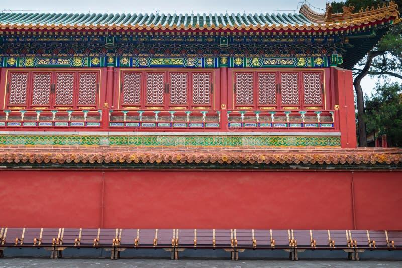 Большой зал старого китайского традиционного здания в запретном городе Пекин Китая стоковое фото rf