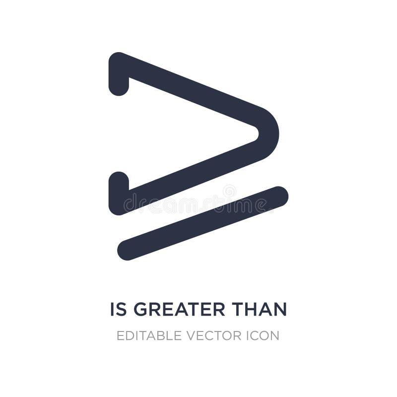 большой чем или равный к значок на белой предпосылке Простая иллюстрация элемента от концепции знаков иллюстрация вектора