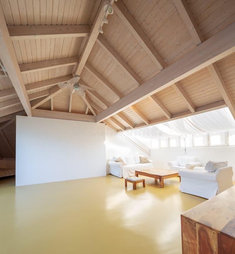 Большой чердак с деревянным потолком стоковое изображение rf