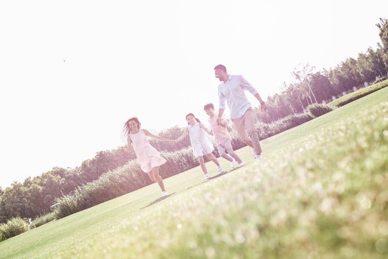бомб Семья из четырех человек бежать на травянистый усмехаться поля жизнерадостный стоковая фотография rf