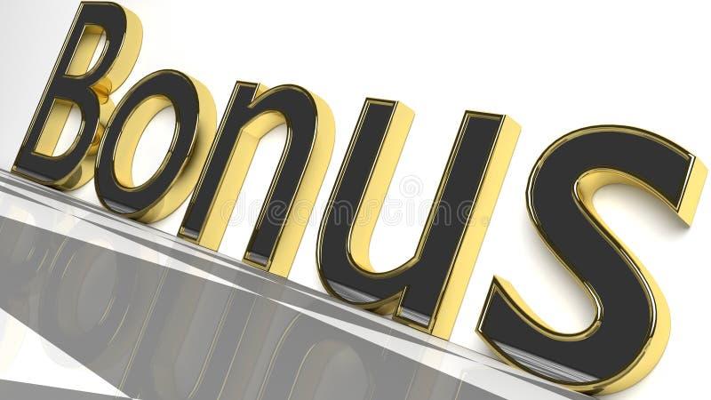 Бонус подписывает внутри золото и лоснистые письма иллюстрация вектора