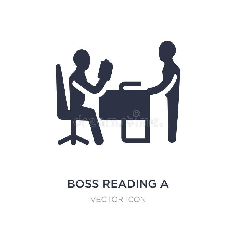 босс читая значок документа на белой предпосылке Простая иллюстрация элемента от концепции дела бесплатная иллюстрация