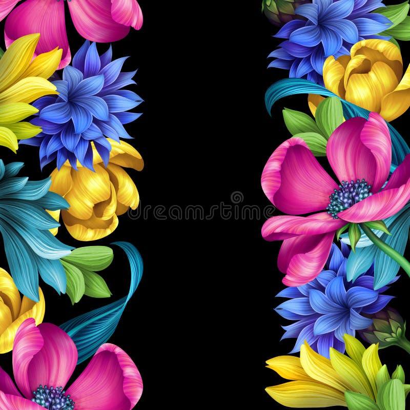 Ботаническая иллюстрация, вертикальный безшовный цветочный узор, фольклорные границы орнаментирует, дикие цветки луга, изолирован иллюстрация штока